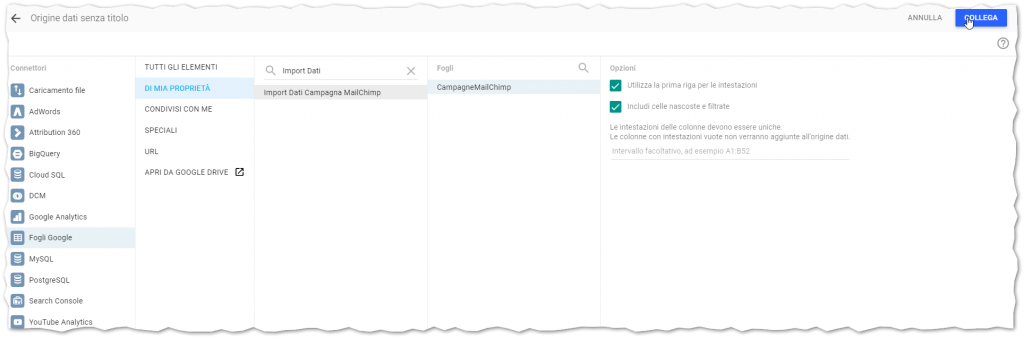 Import Google Data Studio Interface