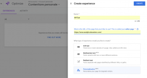 Google Optimize Personalization - Create Experience