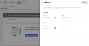 Google Optimize Personalization - Schedule