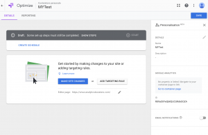Google Optimize Personalization - Changes and Rules