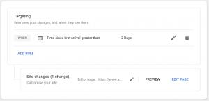 Google Optimize Personalization - Targeting